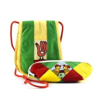 Sárga-zöld-bordó kakasos ajándékcsomag