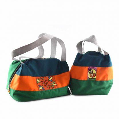 Zöld-narancs madaras hőtartó táska kollekció