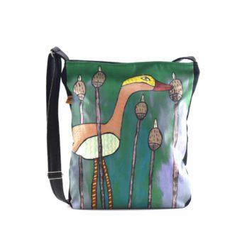 Zöld-lila gémes festett táska