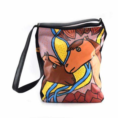 Tarka lovas festett táska