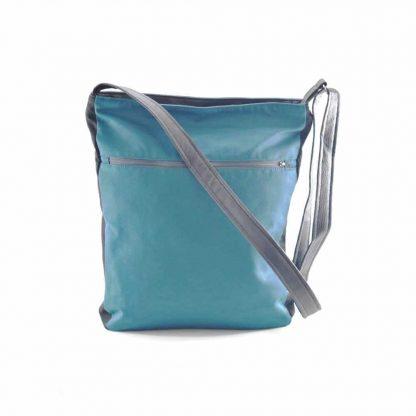 Kék-zöld színes pávás festett táska