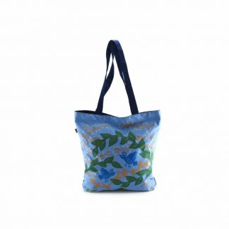 Kék ágas-madaras festett táska