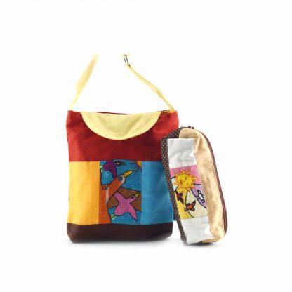 Színes madaras-napocskás táskás ajándékcsomag