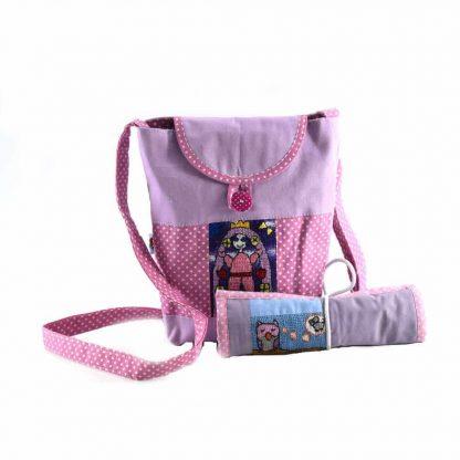 Rózsaszín-pöttyös táskás ajándékcsomag