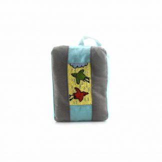 Szürke-türkiz madaras pikk-pakk táska