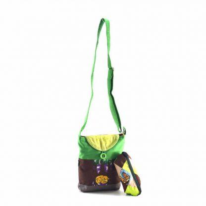 Zöld-színes  macis-pónis táskás ajándékcsomag