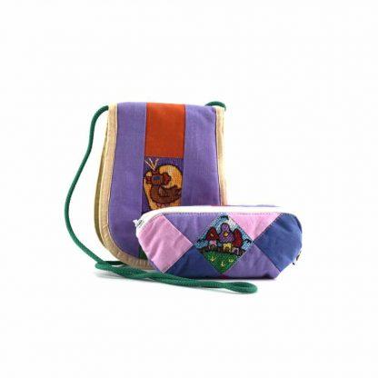 Lila-színes házas-kakasos ajándékcsomag