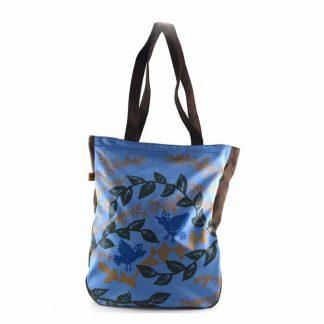 Kék aranyágas-madaras festett táska