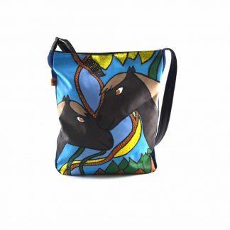 Kék barna lovas festett táska
