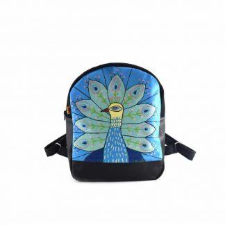 Kék pávás festett hátitáska
