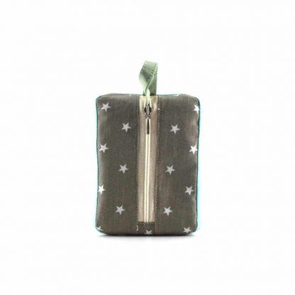 Zöld-türkiz madaras pikk-pakk táska