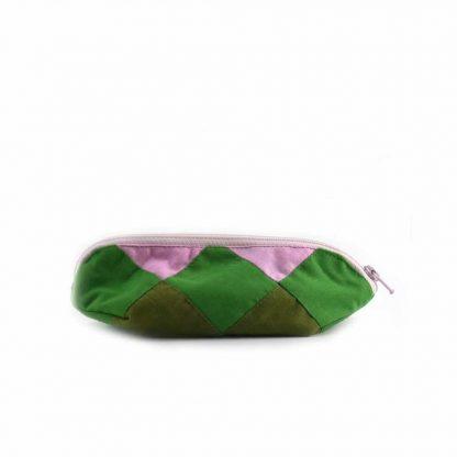 Zöld-rózsaszín kakasos tolltartó