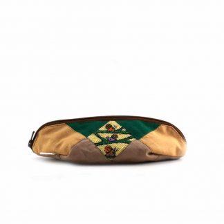 Barna-zöld csigás tolltartó
