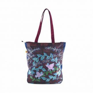 Bordó aranyágas-madaras festett táska
