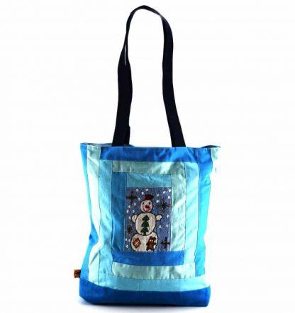 Kék hóemberes táska