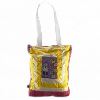 Sárga-színes ajándékdobozos táska