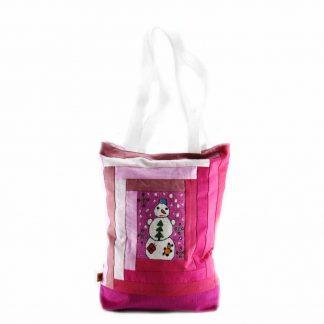 Rózsaszín-mintás hóemberes táska