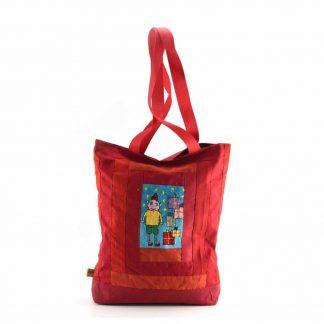 Piros ajándékdobozos táska