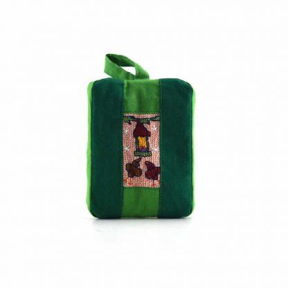Zöld ágas-madáretetős pikk-pakk táska