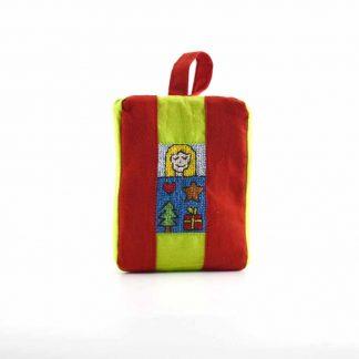 Piros karácsonyos pikk-pakk táska