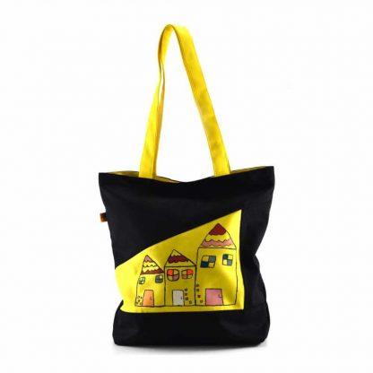 Fekete-sárga házas festett táska