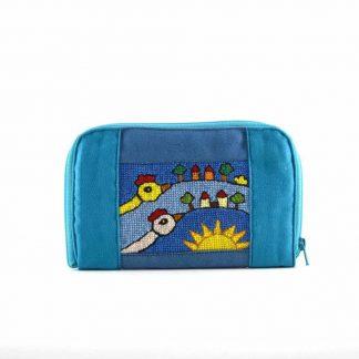 Kék falus-madaras pénztárca