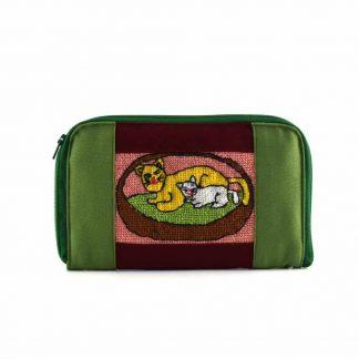 Zöld-bordó cicás pénztárca