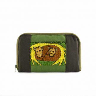 Zöld hímzett pénztárca