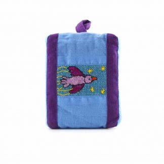 Kék-lila madaras pikk-pakk táska