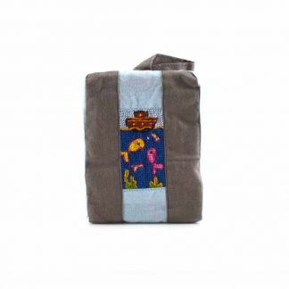 Barna-kék hajós pikk-pakk táska
