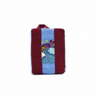 Bordó-kék szivárványos pikk-pakk táska