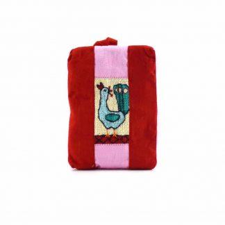 Piros pávás pikk-pakk táska