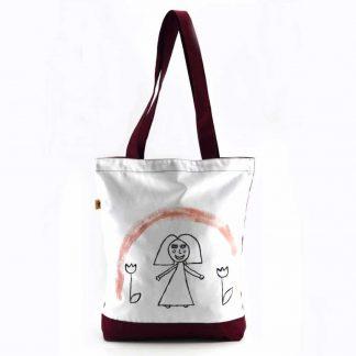 Fehér-bordó kislányos festett táska