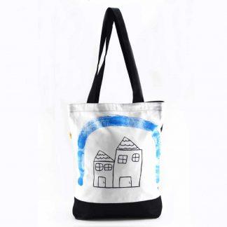 Fehér-fekete házas festett táska