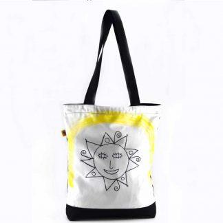 Fehér-fekete napocskás festett táska