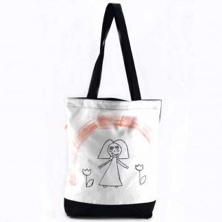 Fehér-fekete kislányos festett táska