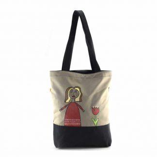 Drapp-fekete kislányos festett táska