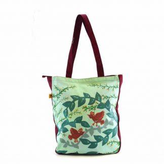 Bordó-zöld aranyágas-madaras festett táska