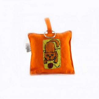 Narancssárga cicás kulcstartó párna