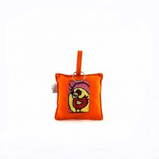 Narancssárga kakasos kulcstartó párna