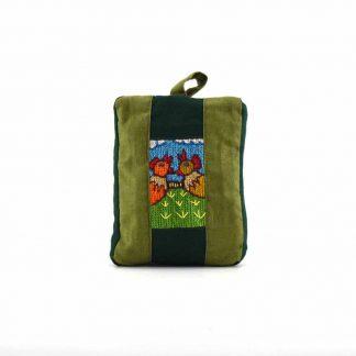 Zöld csibepáros pikk-pakk táska