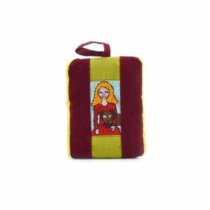 Zöld-bordó kutyás lányos pikk-pakk táska
