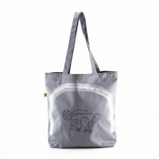 Szürke macskás bevásárló táska