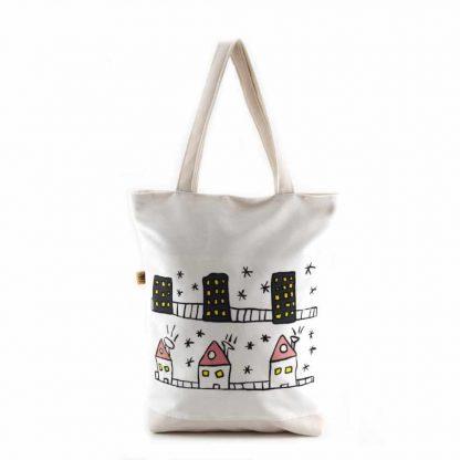 Fehér bőrbetétes házas táska