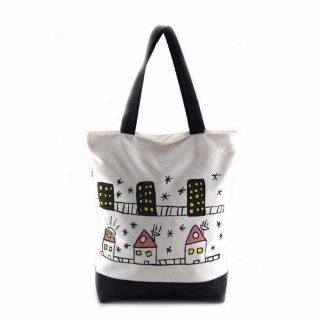 Fehér-fekete bőrbetétes házas táska