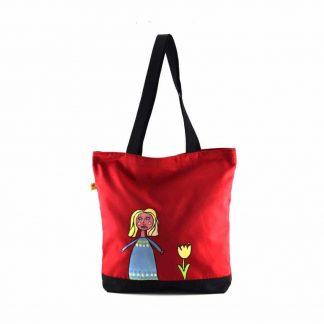 Piros szőke kislányos festett táska