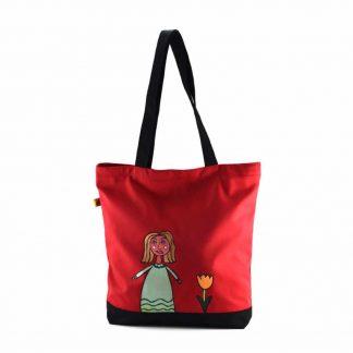 Piros aranyhajú kislányos festett táska