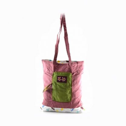 Zöld virágos pikk-pakk táska