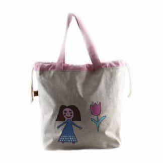 Drapp kislányos festett táska