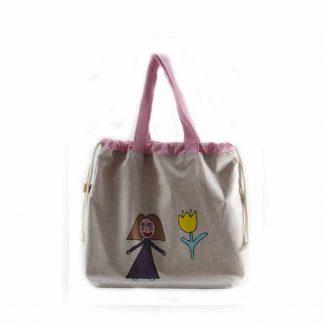 Drapp kislányos tulipános festett táska